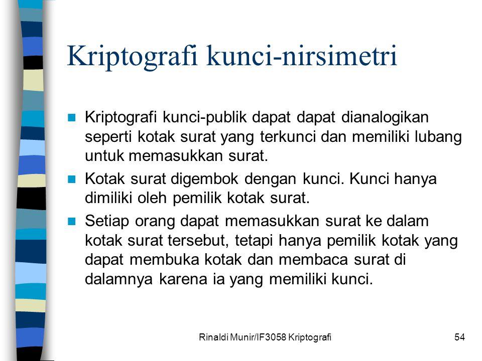 Rinaldi Munir/IF3058 Kriptografi54 Kriptografi kunci-nirsimetri Kriptografi kunci-publik dapat dapat dianalogikan seperti kotak surat yang terkunci da