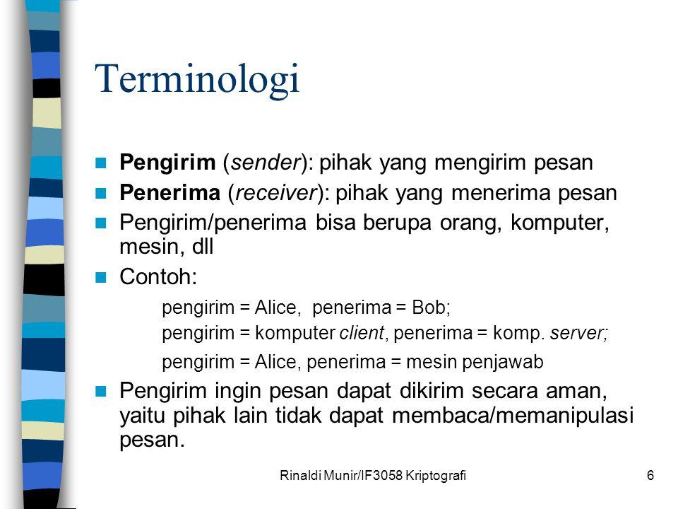 Rinaldi Munir/IF3058 Kriptografi6 Terminologi Pengirim (sender): pihak yang mengirim pesan Penerima (receiver): pihak yang menerima pesan Pengirim/pen