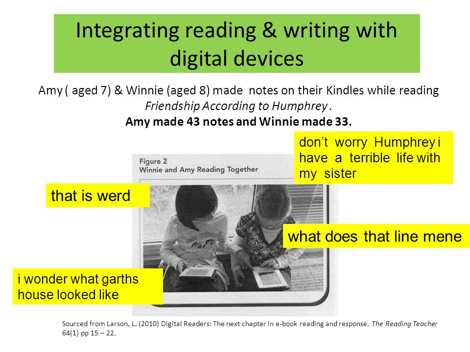Integrating reading & writing with digital devices don't worry Humphrey i have a terrible life with my sister i wonder what garths house looked like what does that line mene that is werd Sourced from Larson, L.