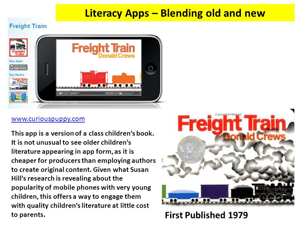 www.curiouspuppy.com Literacy Apps – Blending old and new First Published 1979 This app is a version of a class children's book.