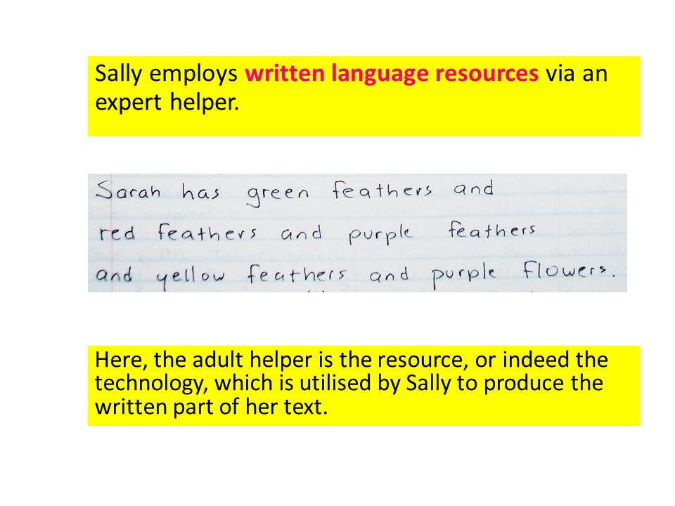 Sally employs written language resources via an expert helper.