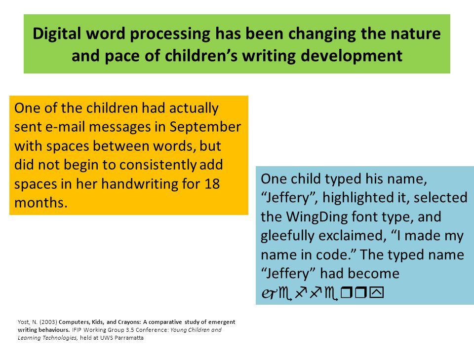 Digital word processing has been changing the nature and pace of children's writing development One of the children had actually sent e-mail messages in September with spaces between words, but did not begin to consistently add spaces in her handwriting for 18 months.
