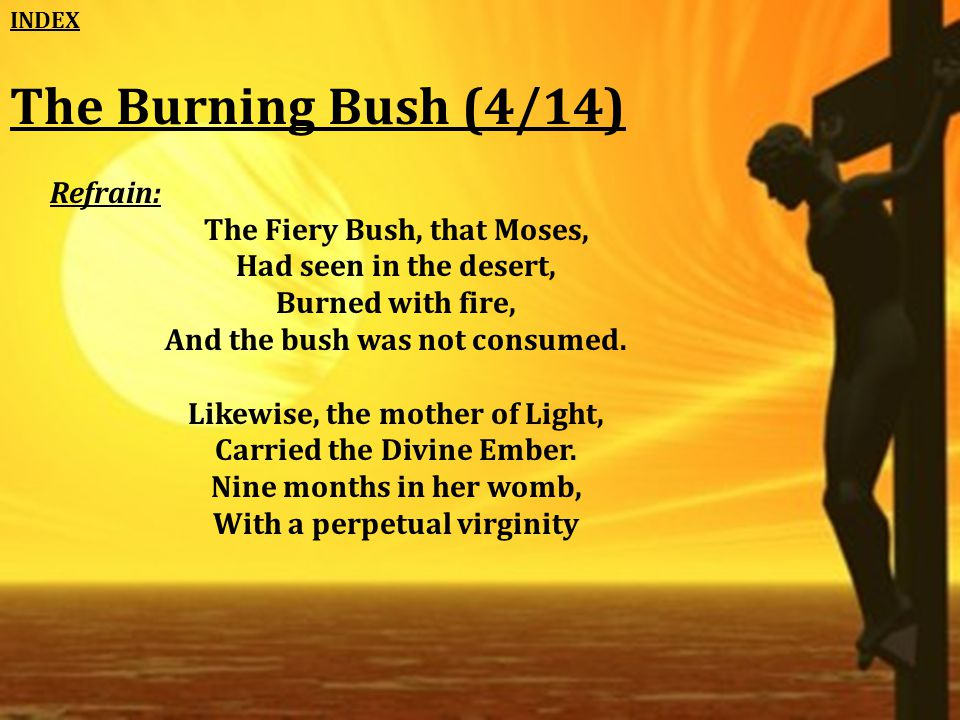 The Burning Bush (4/14) Refrain: The Fiery Bush, that Moses, Had seen in the desert, Burned with fire, And the bush was not consumed.