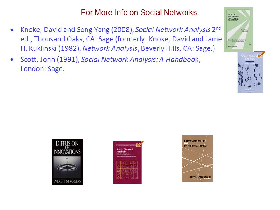 Knoke, David and Song Yang (2008), Social Network Analysis 2 nd ed., Thousand Oaks, CA: Sage (formerly: Knoke, David and James H.
