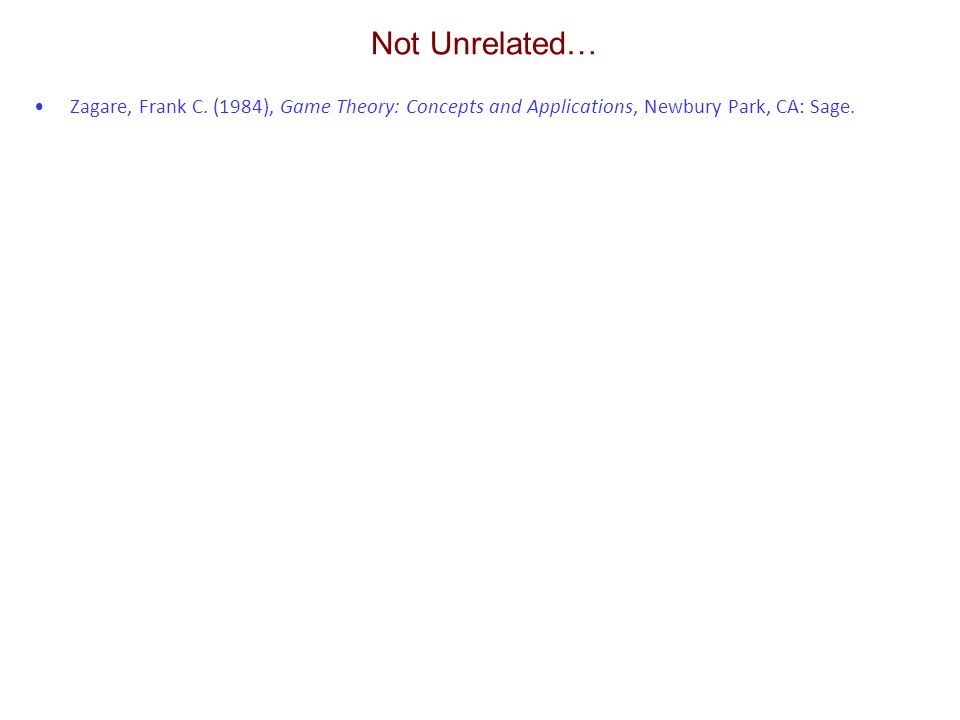Not Unrelated… Zagare, Frank C. (1984), Game Theory: Concepts and Applications, Newbury Park, CA: Sage.