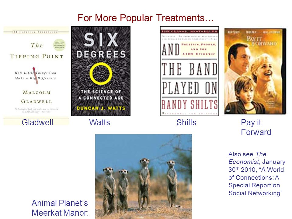For More Popular Treatments… Pay it Forward WattsShilts Animal Planet's Meerkat Manor: Gladwell Also see The Economist, January 30 th 2010, A World of Connections: A Special Report on Social Networking