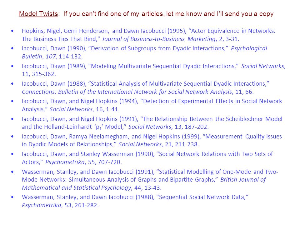 Applications: If you can't find one of my articles, let me know and I'll send you a copy Bagozzi, Richard P., Geraldine Henderson, Pratibha A.