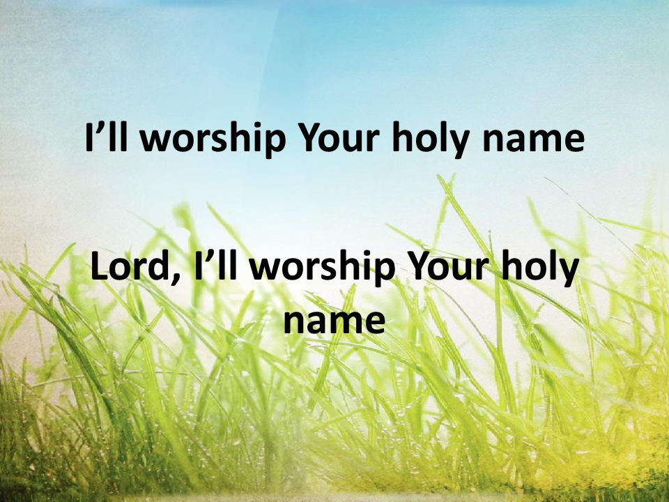 Lord, I'll worship Your holy name