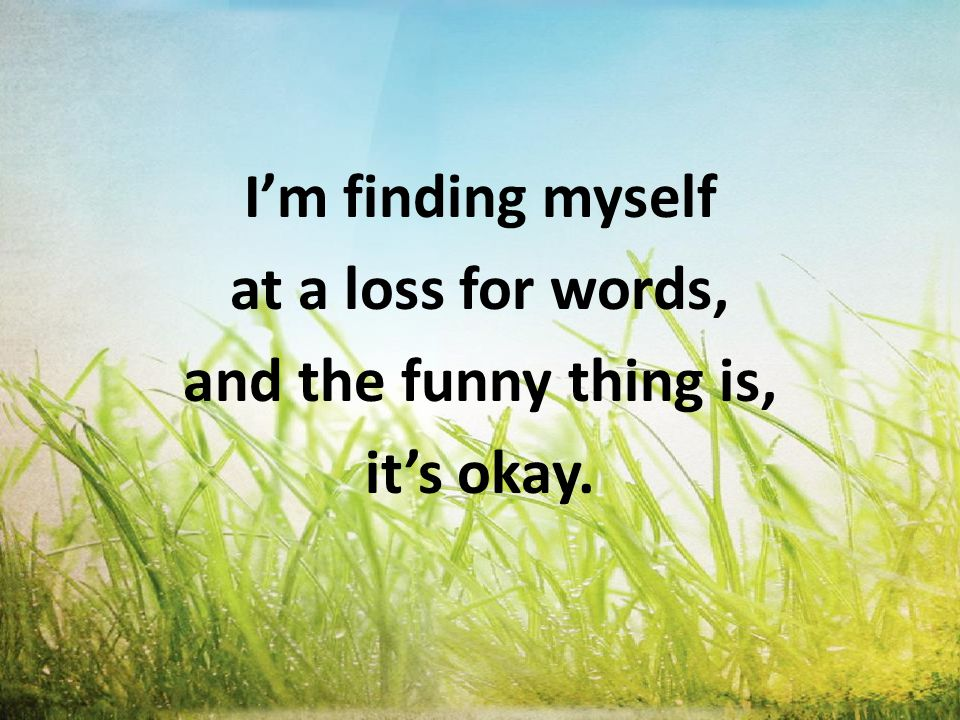 I'm finding myself at a loss for words, and the funny thing is, it's okay.
