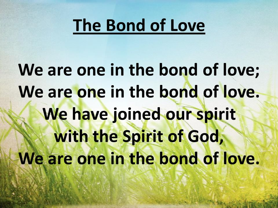The Bond of Love We are one in the bond of love; We are one in the bond of love.
