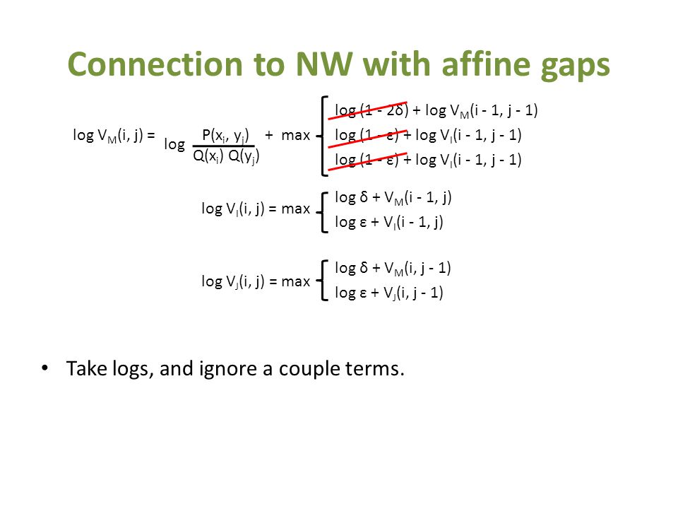 Connection to NW with affine gaps Take logs, and ignore a couple terms. log V M (i, j) = P(x i, y j ) + max log V I (i, j) = max log V J (i, j) = max