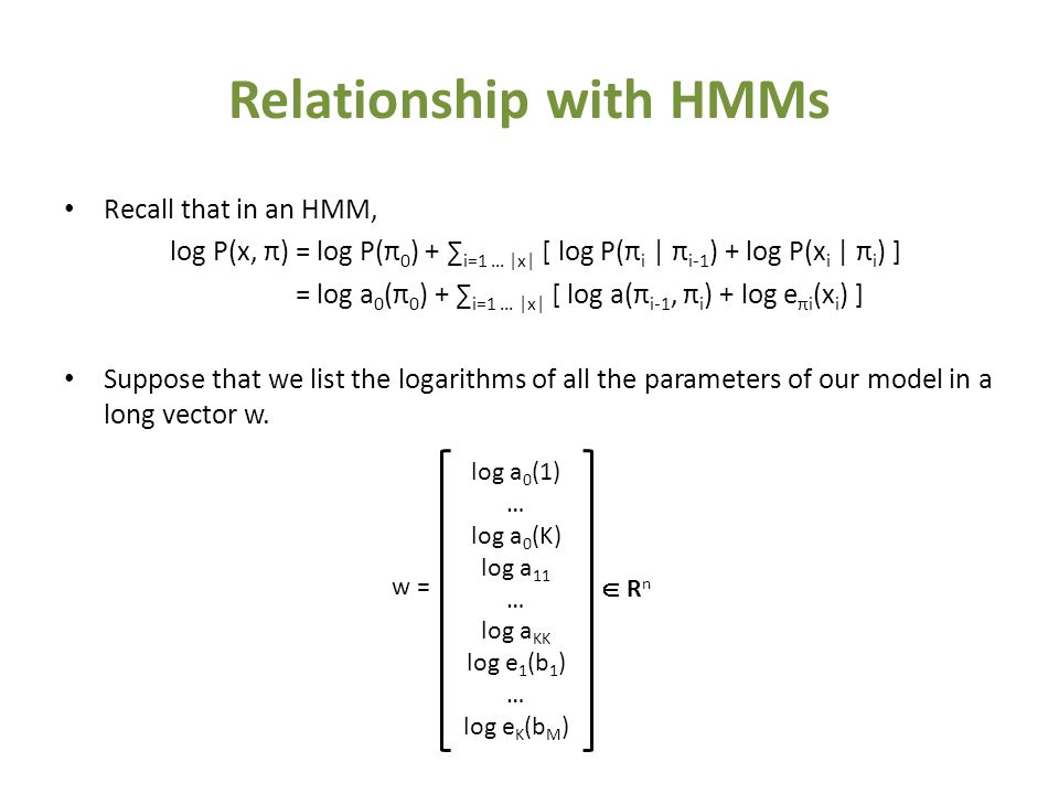 Relationship with HMMs Recall that in an HMM, log P(x, π) = log P(π 0 ) + ∑ i=1 … |x| [ log P(π i | π i-1 ) + log P(x i | π i ) ] = log a 0 (π 0 ) + ∑