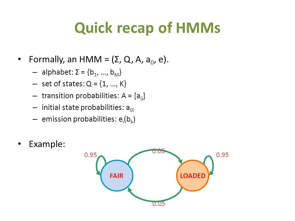 Quick recap of HMMs Formally, an HMM = (Σ, Q, A, a 0, e).