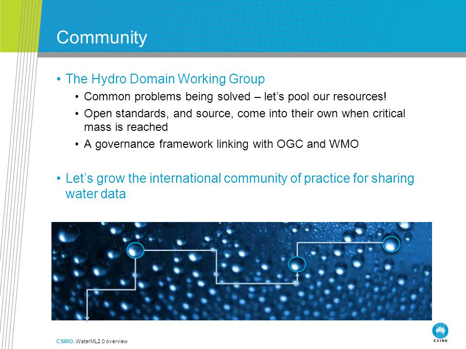 Community The Hydro Domain Working Group Common problems being solved – let's pool our resources.