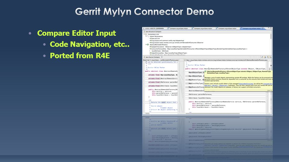 Compare Editor Input Code Navigation, etc.. Ported from R4E