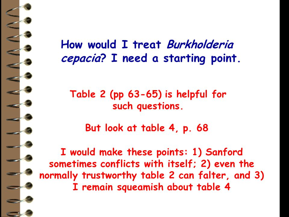 How would I treat Burkholderia cepacia? I need a starting point. Table 2 (pp 63-65) is helpful for such questions. But look at table 4, p. 68 I would