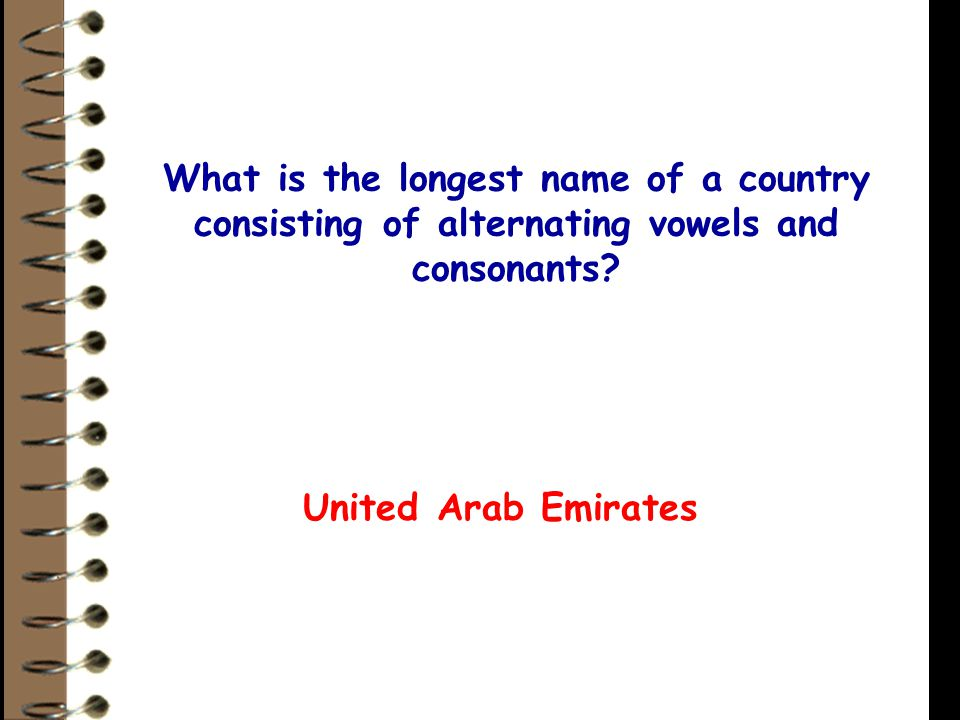 What is the longest name of a country consisting of alternating vowels and consonants.