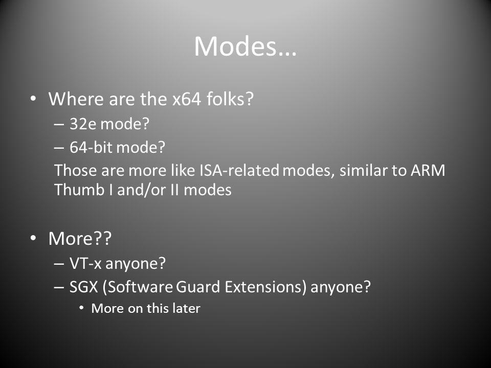 Modes… Where are the x64 folks.– 32e mode. – 64-bit mode.