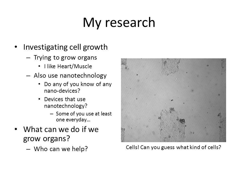 My research Investigating cell growth – Trying to grow organs I like Heart/Muscle – Also use nanotechnology Do any of you know of any nano-devices.