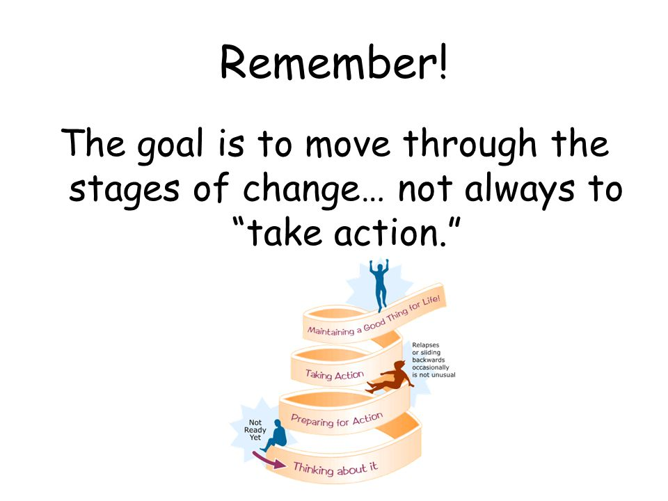 """Remember! The goal is to move through the stages of change… not always to """"take action."""""""
