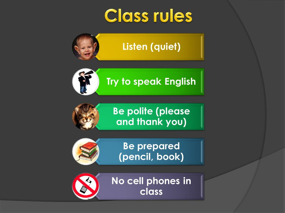 Listen (quiet) Try to speak English Be polite (please and thank you) Be prepared (pencil, book) No cell phones in class