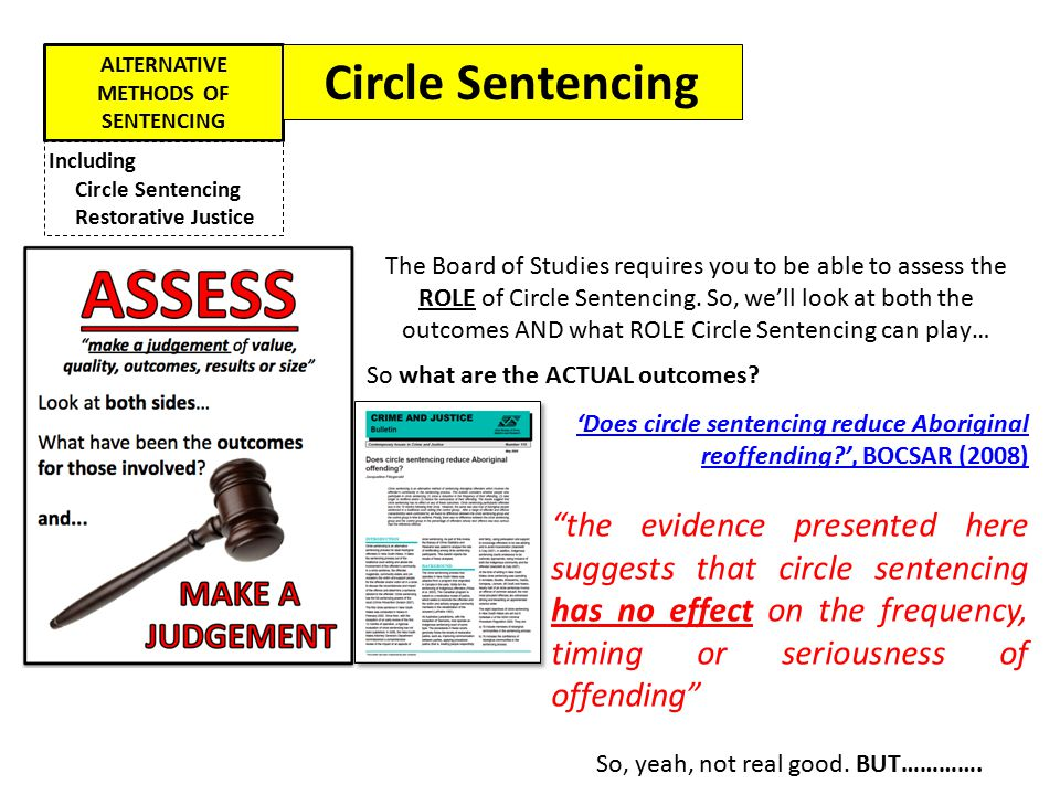 ALTERNATIVE METHODS OF SENTENCING Including Circle Sentencing Restorative Justice Circle Sentencing So what are the ACTUAL outcomes? 'Does circle sent