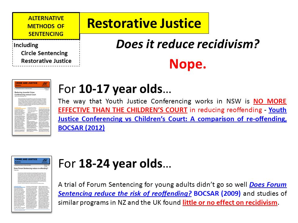 ALTERNATIVE METHODS OF SENTENCING Including Circle Sentencing Restorative Justice But there are other advantages… 1.TIME: If the POLICE refer a young person to YJC, their case is over much more quickly than court YJC vs Children's Court: A comparison of time to finalisation, BOCSAR 2012 2.MONEY: YJC is more cost effective than the Children's Court YJC vs Children's Court: A comparison of cost-effectiveness, BOCSAR 2012 3.VICTIM SATISFACTION: 88% of victims said they would recommend YJC to other victims Participant Satisfaction with YJC, BOCSAR 2012 4.PUBLIC SUPPORT: 87% of people surveyed agreed that the victim should have this chance to talk to the offender about how the crime affected their life Restorative Justice Initiatives: Public Support and Opinion in NSW, BOCSAR 2012 Advantages of YJC: Restorative Justice