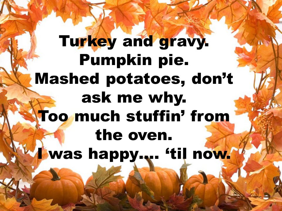 Turkey and gravy. Pumpkin pie. Mashed potatoes, don't ask me why. Too much stuffin' from the oven. I was happy…. 'til now.