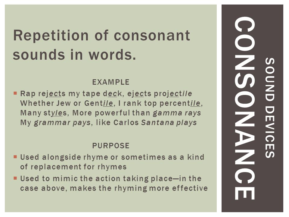 SOUND DEVICES CONSONANCE Repetition of consonant sounds in words.