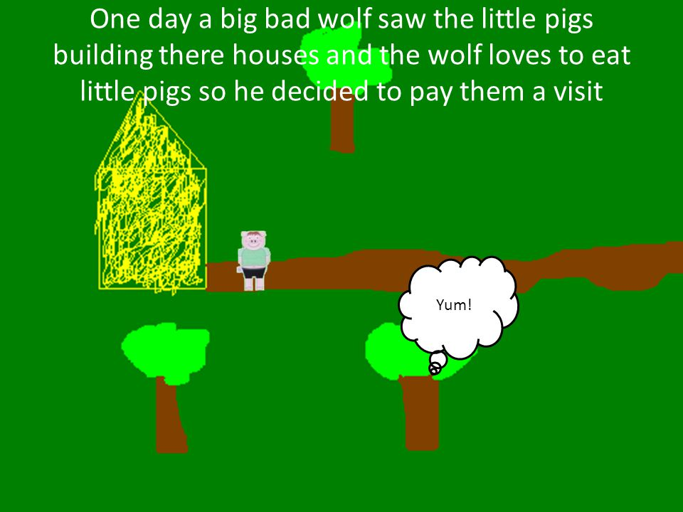 The big bad wolf knocked on the door and said little pig little pig let me in or I'll huff and I'll puff and I'll blow your house in Knock Knock Knock!!.