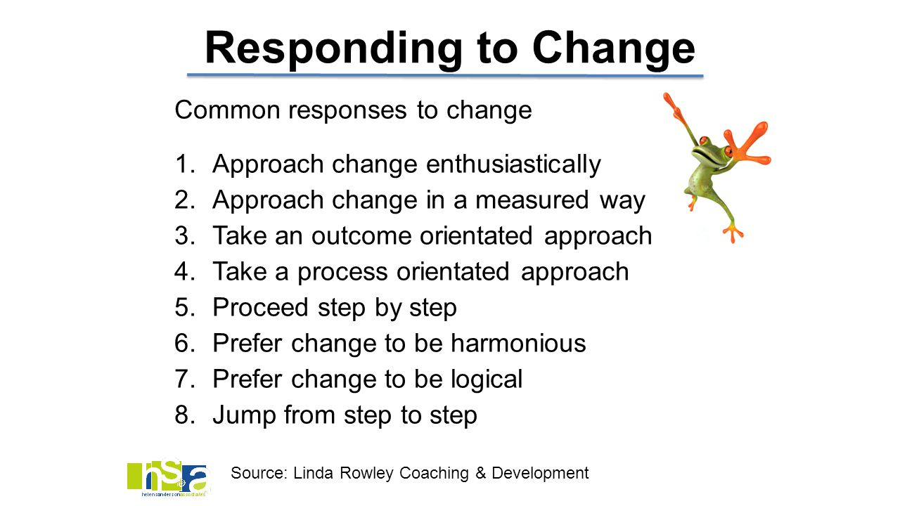 Responding to Change Common responses to change 1.Approach change enthusiastically 2.Approach change in a measured way 3.Take an outcome orientated ap