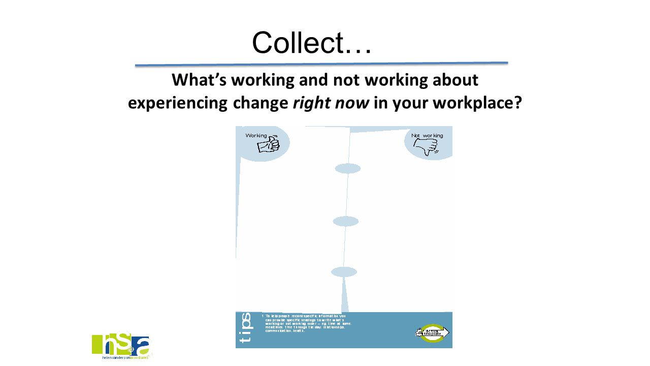 What's working and not working about experiencing change right now in your workplace? Collect…