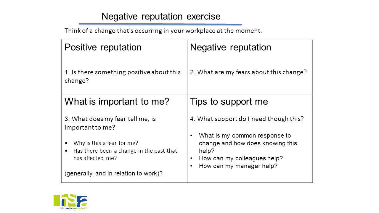 Negative reputation exercise Positive reputation 1. I s there something positive about this change? Negative reputation 2. What are my fears about thi