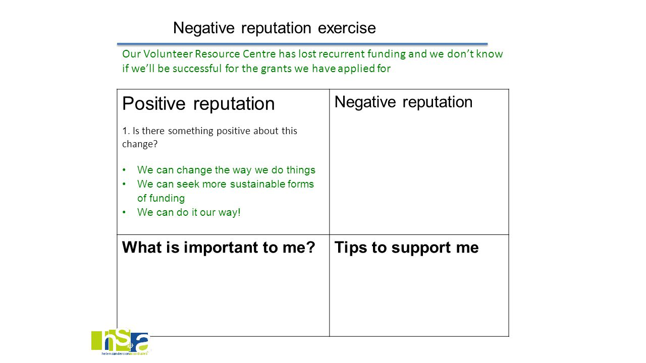 Negative reputation exercise Positive reputation 1. I s there something positive about this change? We can change the way we do things We can seek mor