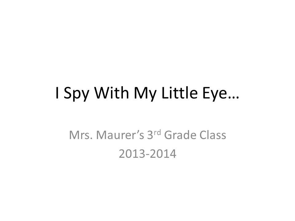 I Spy With My Little Eye… Mrs. Maurer's 3 rd Grade Class 2013-2014