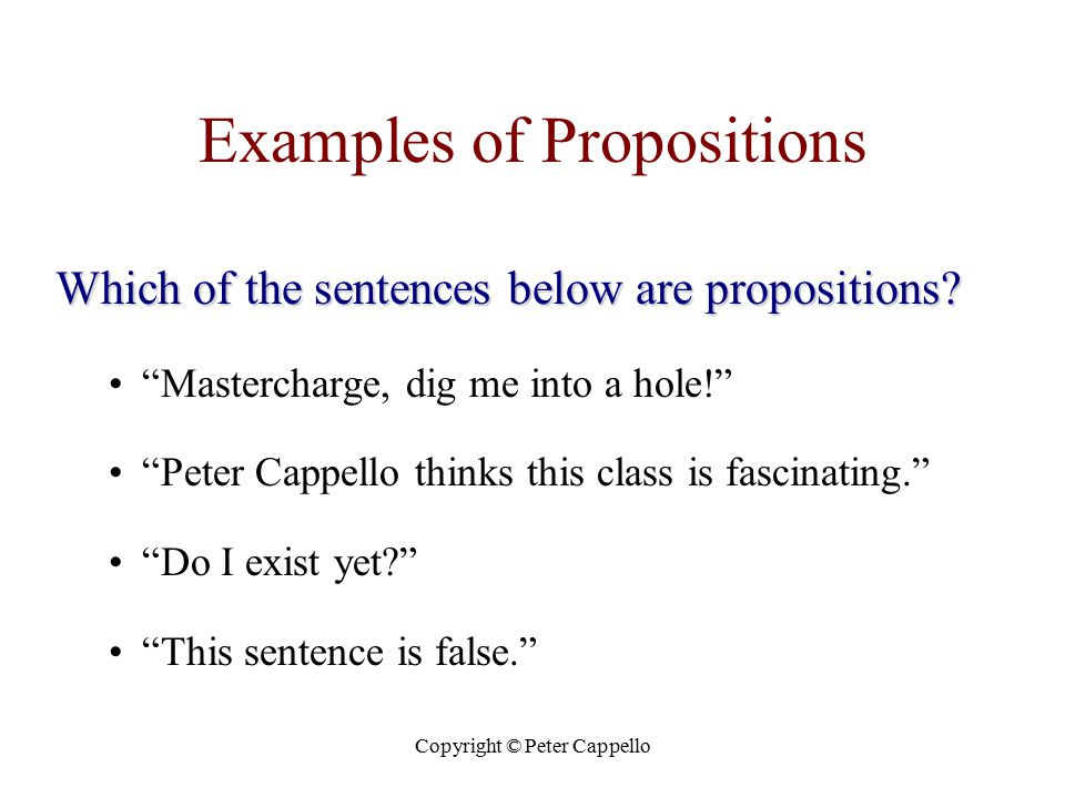 "Copyright © Peter Cappello Examples of Propositions Which of the sentences below are propositions? ""Mastercharge, dig me into a hole!"" ""Peter Cappello"