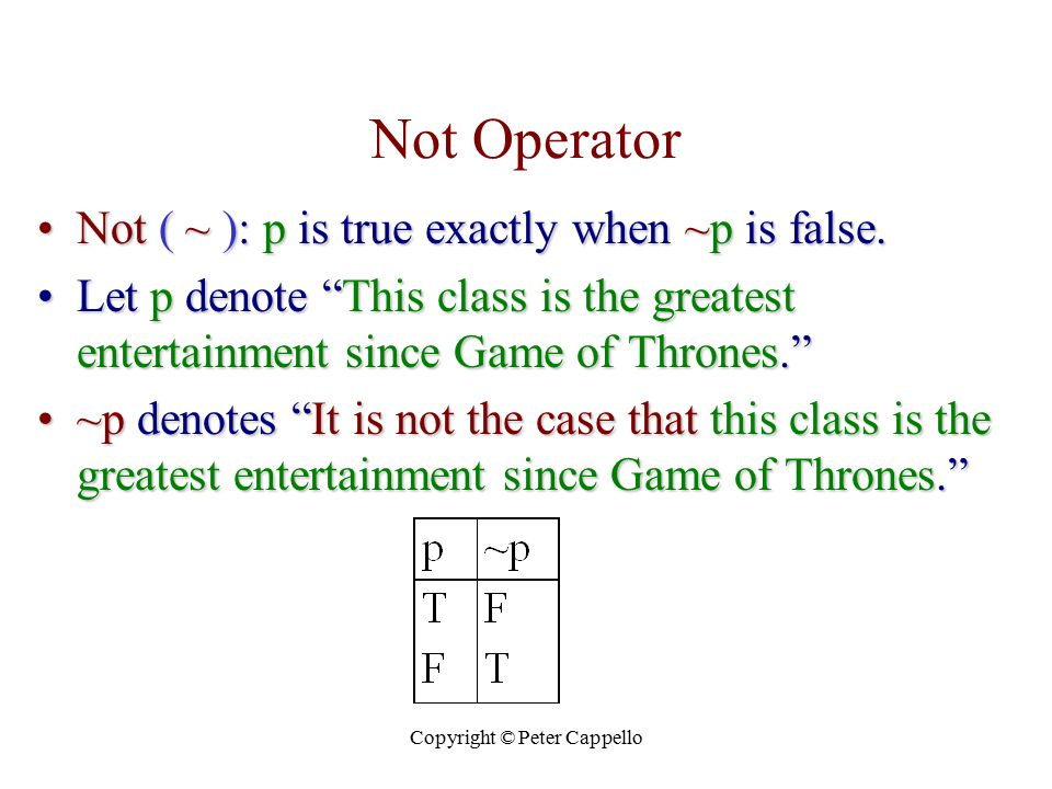 "Copyright © Peter Cappello Not Operator Not ( ~ ): p is true exactly when ~p is false.Not ( ~ ): p is true exactly when ~p is false. Let p denote ""Thi"