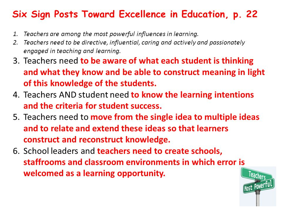 Six Sign Posts Toward Excellence in Education, p.