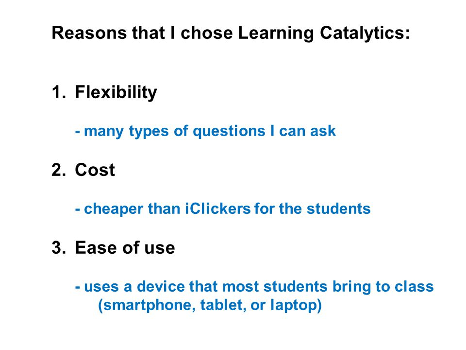 Concerns that I had when I started: 1.Not all students would have access to a response device 2.The system would be too complicated for me to use 3.The system would be too complicated for the students to use.