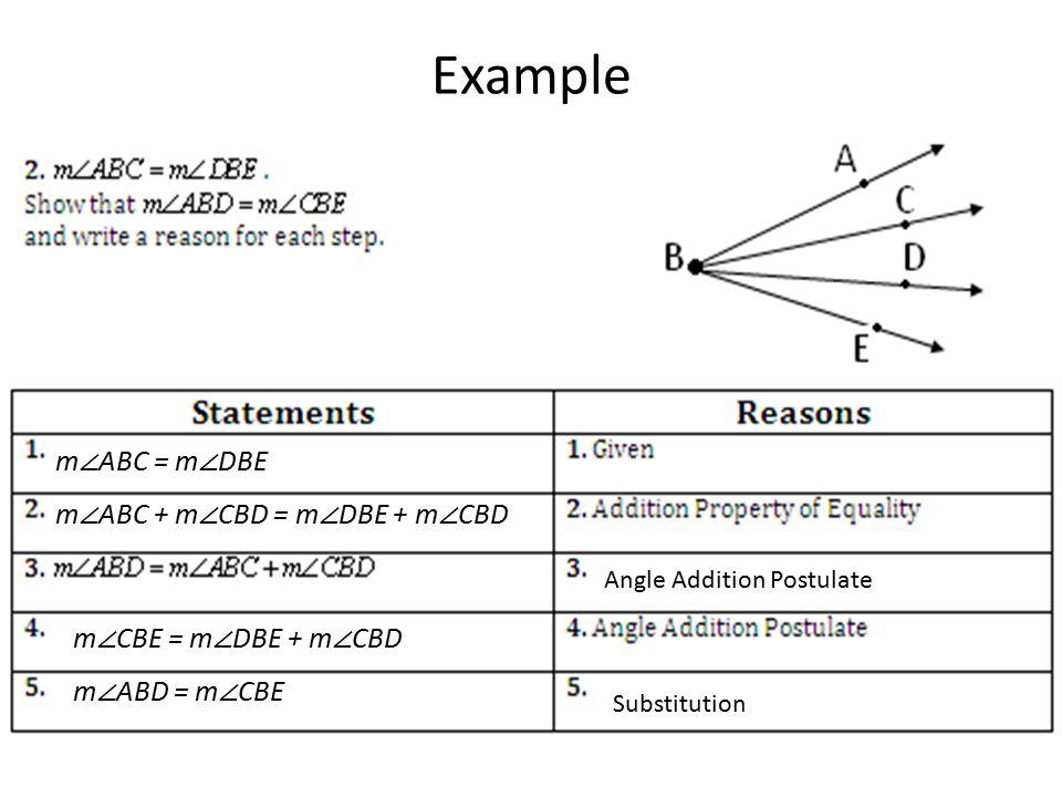 Example Angle Addition Postulate Substitution m ∠ ABC = m ∠ DBE m ∠ ABC + m ∠ CBD = m ∠ DBE + m ∠ CBD m ∠ CBE = m ∠ DBE + m ∠ CBD m ∠ ABD = m ∠ CBE