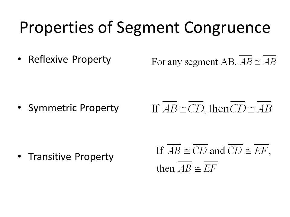 Properties of Segment Congruence Reflexive Property Symmetric Property Transitive Property