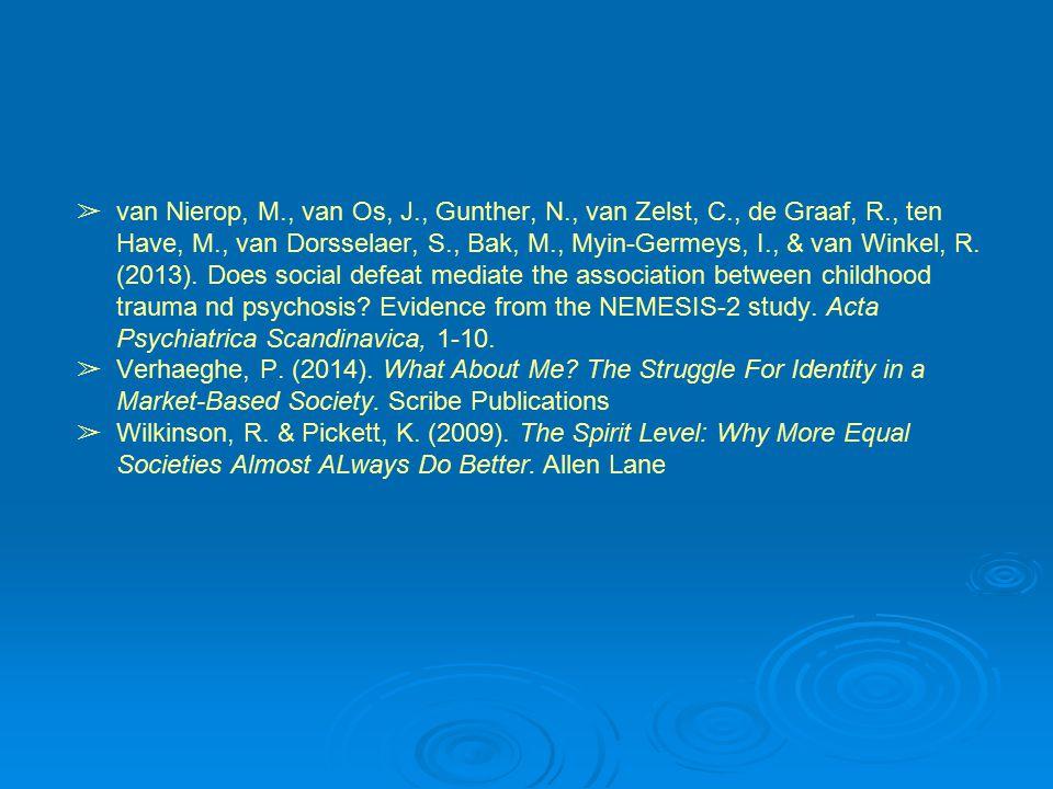 ➢ van Nierop, M., van Os, J., Gunther, N., van Zelst, C., de Graaf, R., ten Have, M., van Dorsselaer, S., Bak, M., Myin-Germeys, I., & van Winkel, R.
