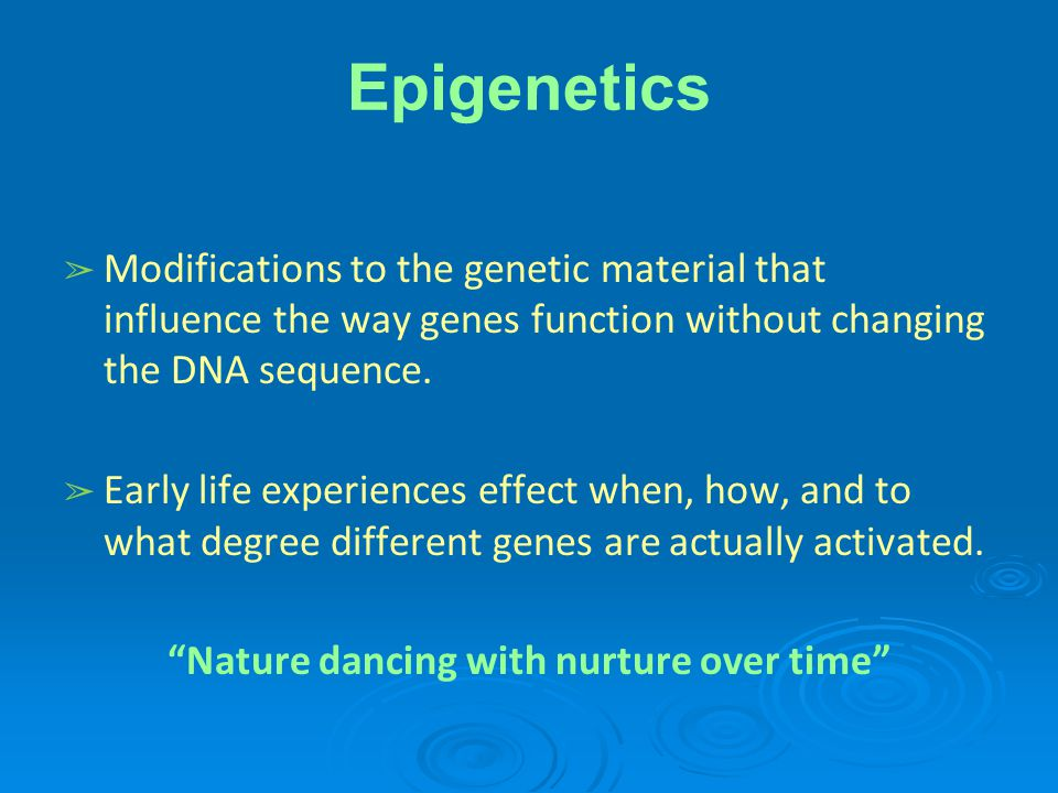 Epigenetics ➢ Modifications to the genetic material that influence the way genes function without changing the DNA sequence.