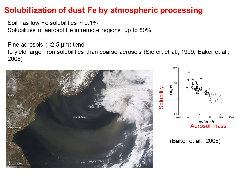 Solubilization of dust Fe by atmospheric processing Soil has low Fe solubilities ~ 0.1% Solubilities of aerosol Fe in remote regions: up to 80% Fine aerosols (<2.5 µm) tend to yield larger iron solubilities than coarse aerosols (Siefert et al., 1999; Baker et al., 2006) (Baker et al., 2006) Aerosol mass Solubility