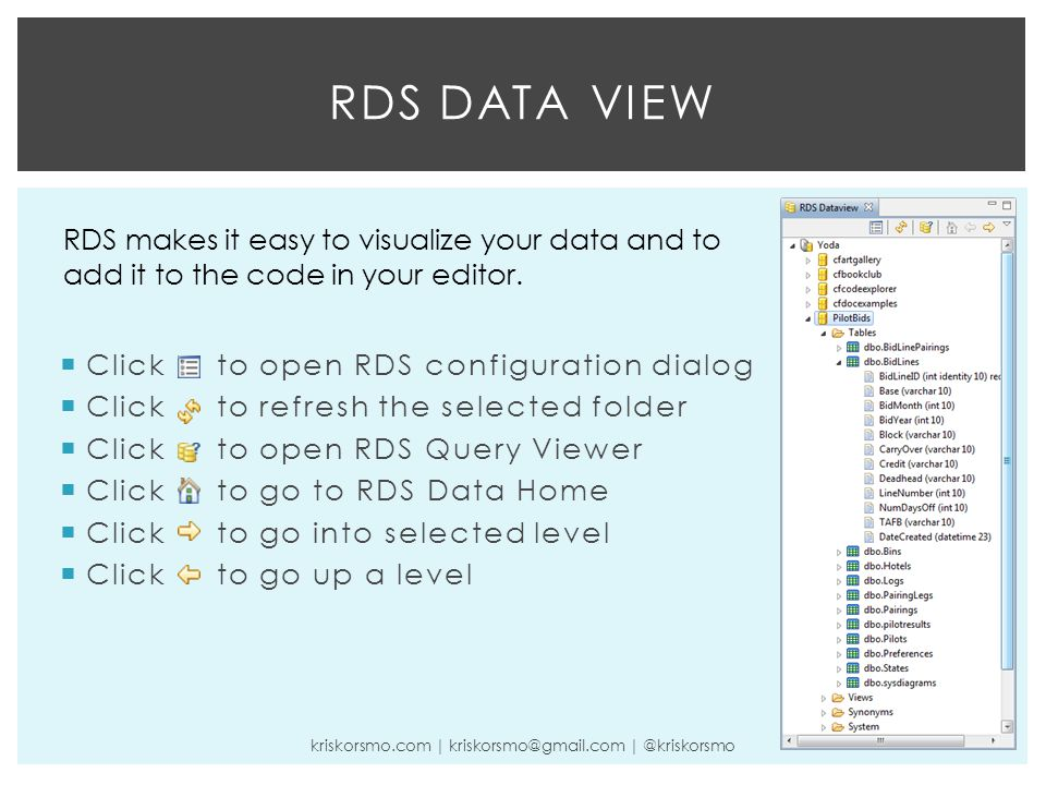  Click to open RDS configuration dialog  Click to refresh the selected folder  Click to open RDS Query Viewer  Click to go to RDS Data Home  Click to go into selected level  Click to go up a level RDS DATA VIEW kriskorsmo.com | kriskorsmo@gmail.com | @kriskorsmo RDS makes it easy to visualize your data and to add it to the code in your editor.