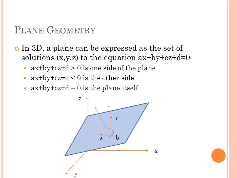 P LANE G EOMETRY In 3D, a plane can be expressed as the set of solutions (x,y,z) to the equation ax+by+cz+d=0 ax+by+cz+d > 0 is one side of the plane