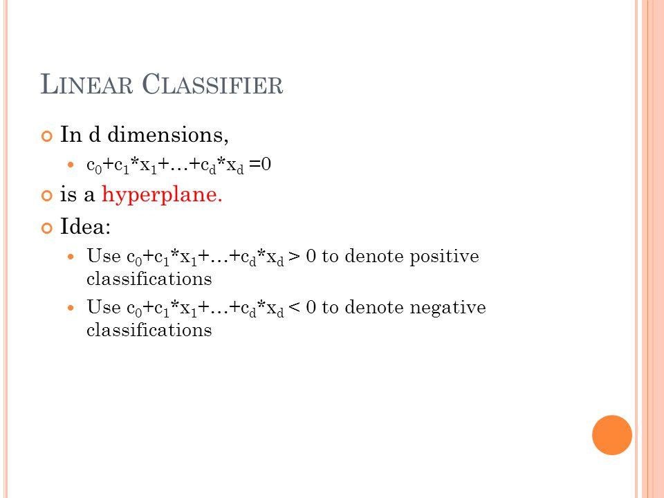 L INEAR C LASSIFIER In d dimensions, c 0 +c 1 *x 1 +…+c d *x d =0 is a hyperplane. Idea: Use c 0 +c 1 *x 1 +…+c d *x d > 0 to denote positive classifi