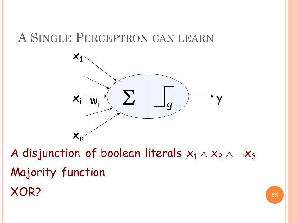 A S INGLE P ERCEPTRON CAN LEARN 26  g xixi x1x1 xnxn y wiwi A disjunction of boolean literals x 1  x 2   x 3 Majority function XOR?