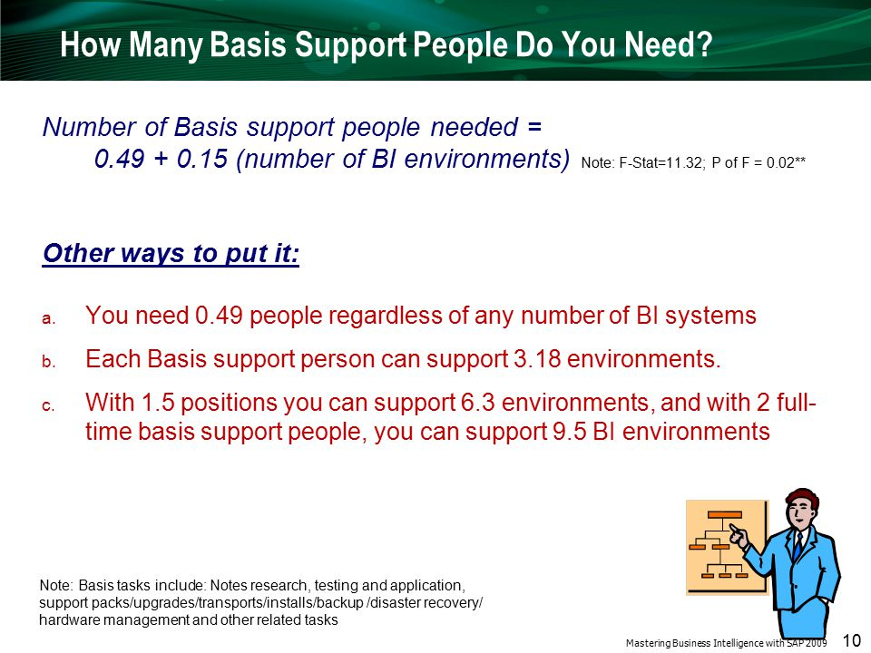 Mastering Business Intelligence with SAP 2009 10 How Many Basis Support People Do You Need.