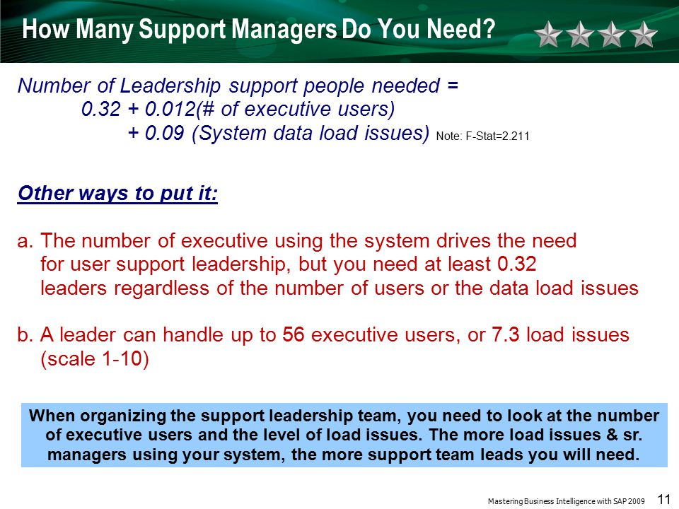 Mastering Business Intelligence with SAP 2009 11 How Many Support Managers Do You Need.